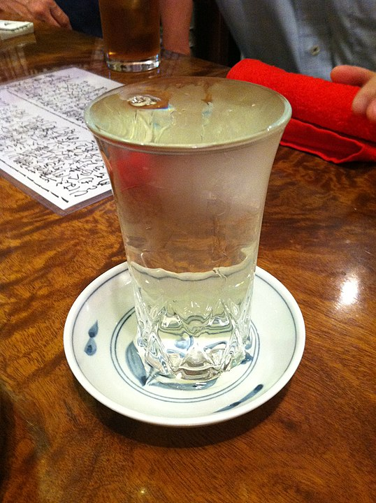 Huge glass of Japanese Rice Wine in a Restaurant