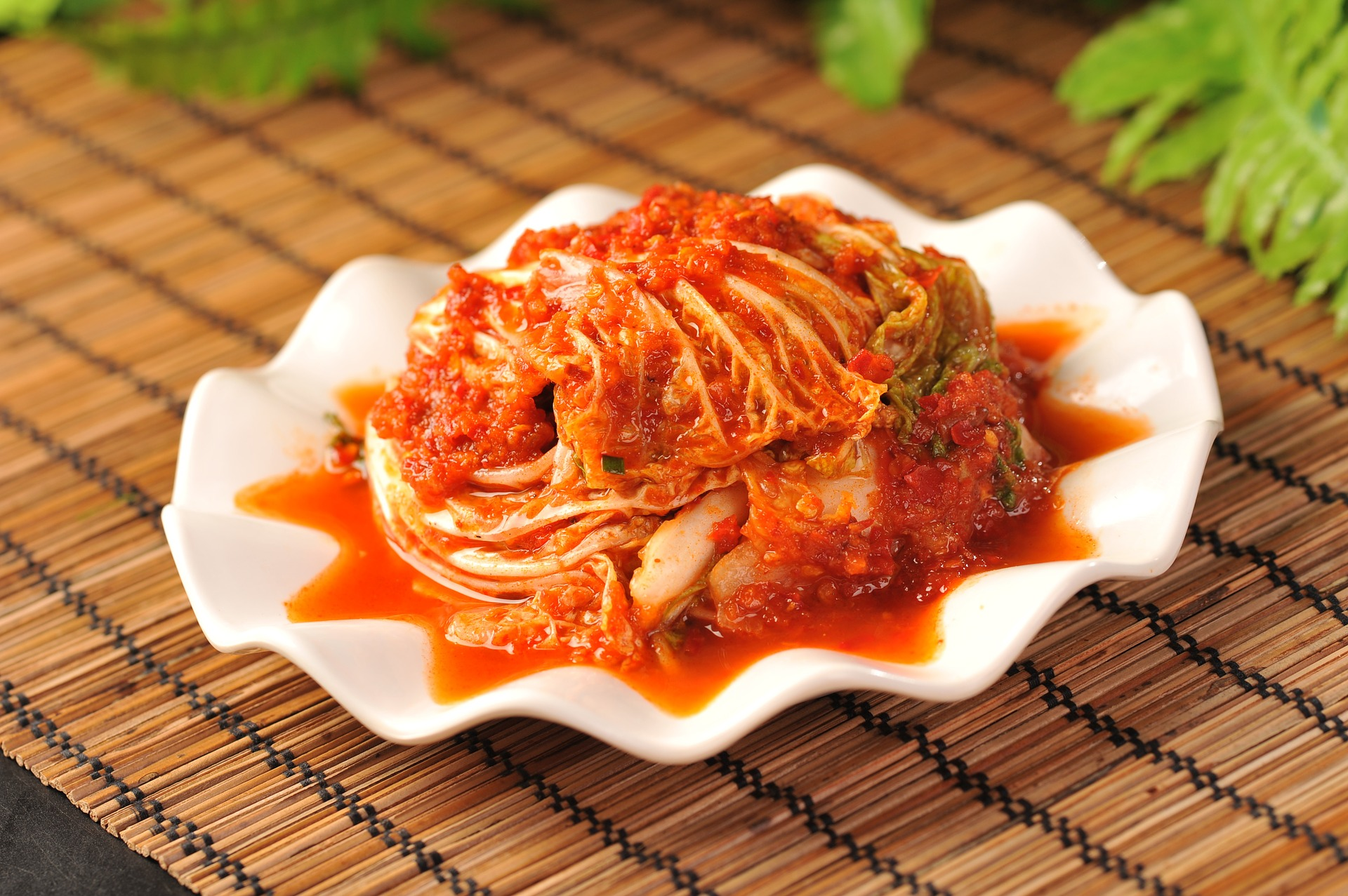 Mustard cabbage prepared in chili sauce.