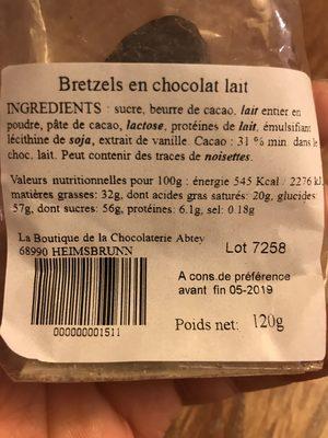 Bretzels en chocolat au lait