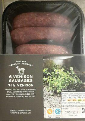 6 Venison Sausages 74% Venison