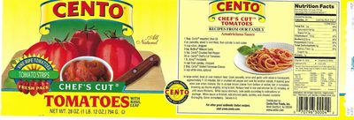 Cento, chef's cut tomatoes with basil leaf