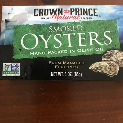 Naturally smoked oysters hand packed in pure olive oil