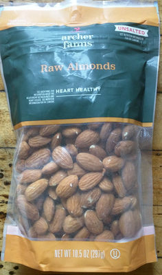 Unsalted raw almonds, unsalted