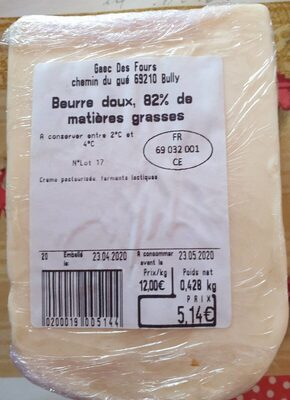 Beurre doux, 82% de matières grasses