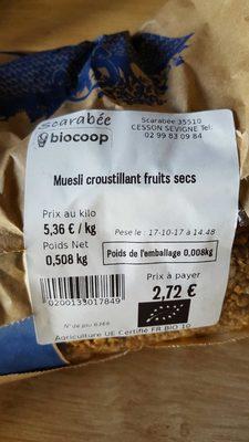 Muesli croustillant fruits  secs