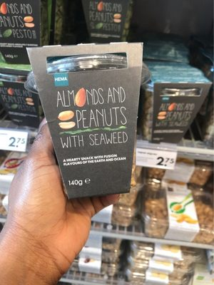 Almonds and peanuts with seaweed