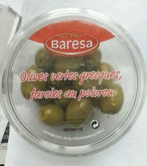 Olives vertes grecques farcies au poivron