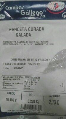 Panceta curada salada