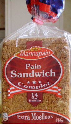 Pain Sandwich, Complet (Extra Moelleux) 14  Maxi Tranches