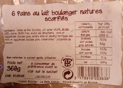 6 pains au lait boulanger natures scarifiés