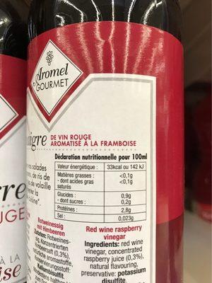 Vinaigre vin touge arome framboise