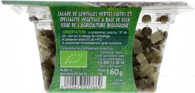 Salade de lentilles et tofu fumé Bio