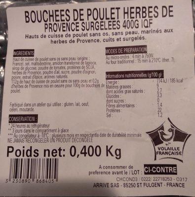 Bouchées de poulet herbes de Provence