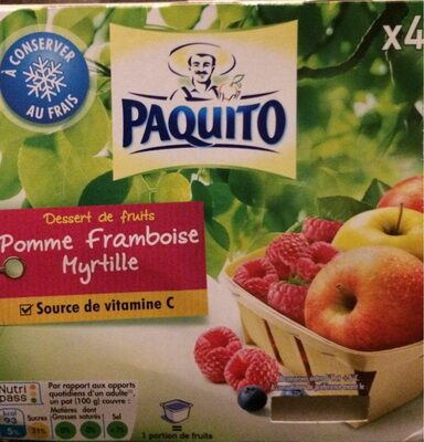 Compote, pomme framboise myrtille