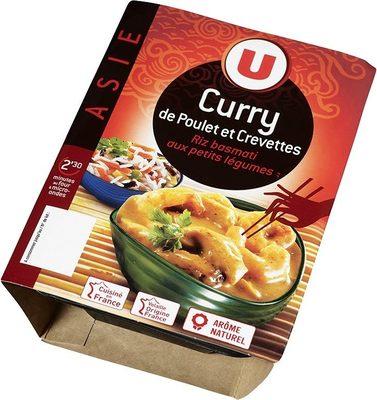 Curry de poulet, crevettes et riz,