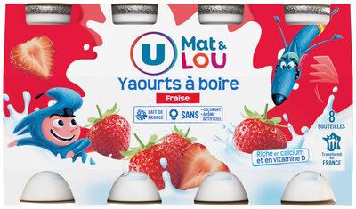 Yaourt à boire aux fruits et aromatisé à la fraise