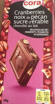 Chocolat au Lait Cranberries, Noix de Pécan, Sucre d'Érable