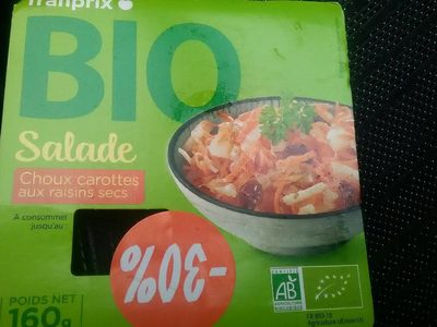 Bio salade choux carottes aux raisins secs