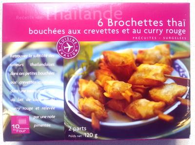 6 brochettes thaï bouchées aux crevettes et curry rouge