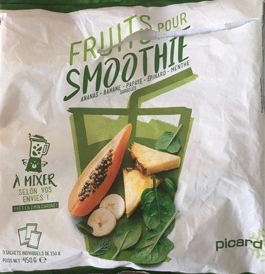 Fruits pour smoothie : Ananas, Banane, Papaye, Épinard, Menthe