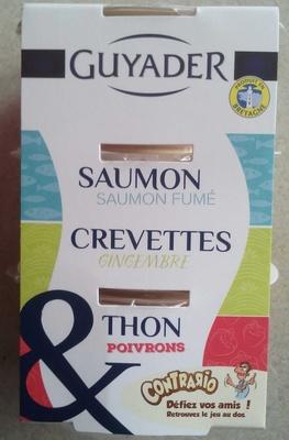 Saumon & Saumon fumé, Crevettes & Gingembre, Thon & Poivrons