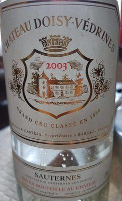 Sauterne 2003 grand cru classé en 1855