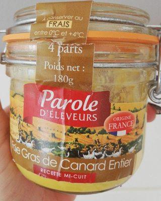 Fois gras de canard entier mi cuit