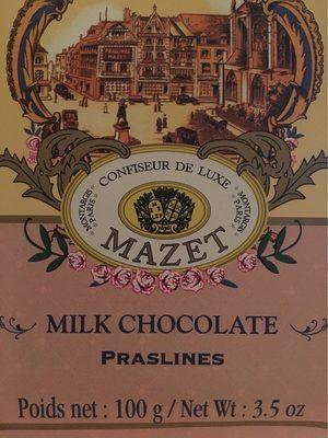Tablette Chocolat Au Lait Praslines - 100 G - Mazet