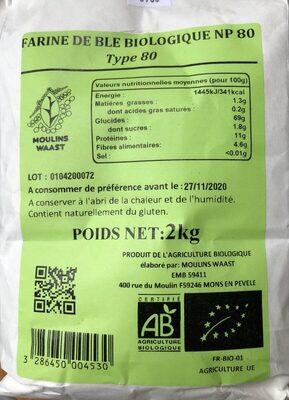 Farine de ble biologique np80