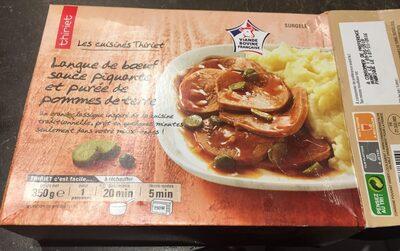 Langue de boeuf, sauce piquante et purée de pomme de terre