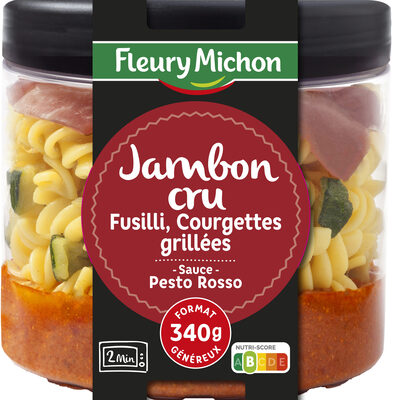 Jambon cru, fusilli, courgettes grillées, sauce pesto rosso