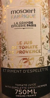 Le Jus de Tomate de Provence et Piment d'espelette