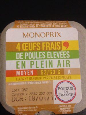 4 oeufs frais de poules élevées en plein air