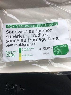 Sandwich Jambon Crudites Fromage Frais