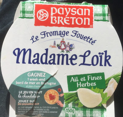 Le Fromage Fouetté Madame Loïk, Ail & Fines Herbes (23 % MG)
