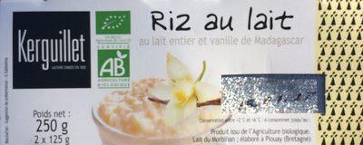 Riz au lait au lait entier et vanille de Madagascar