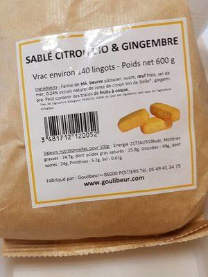 Salé citron bio et gingembre