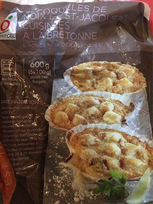 6 coquilles de noix de st jacques cuisinee a ls bretonne