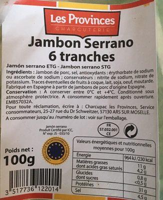 Jambon serrano 6 tranches