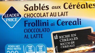 Sablé aux céréales - chocolat au lait