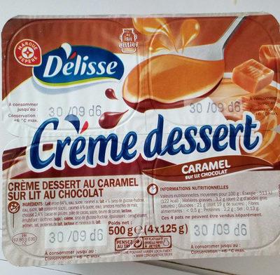 Crème dessert caramel sur lit de chocolat