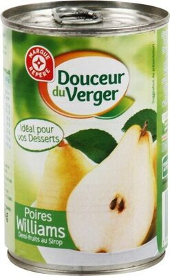 Poires williams demi-fruits au sirop