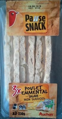 Pause snack 3x Poulets emmental - salade - pain suédois
