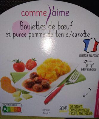 Boulettes de boeuf et purée pomme de terre / carotte