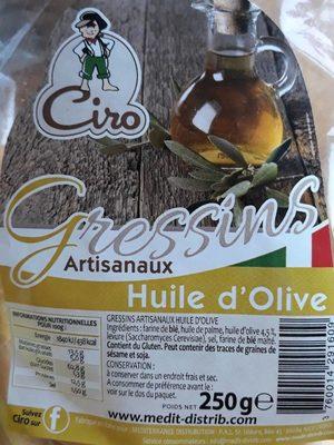 Gressins artisanaux huile d'olive