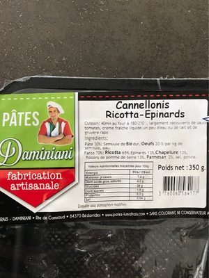 Cannellonis ricotta epinards
