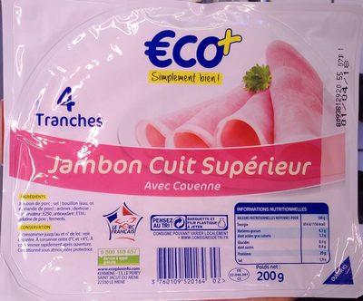 Jambon Cuit Supérieur avec Couenne (4 tranches)