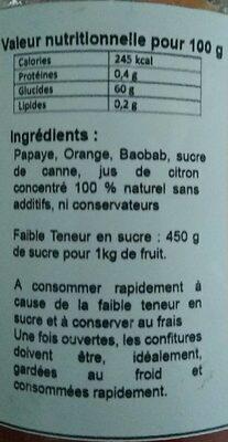 Confiture papaye orange baobab