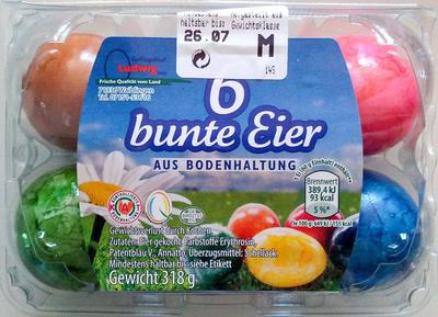 6 bunte Eier aus Bodenhaltung