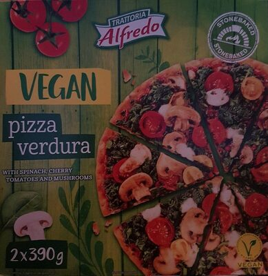 Pizza veggie spinach, cherry tomatoes and mushrooms
